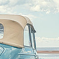 Classic Vintage Morris Minor 1000 Convertible At The Beach by Edward Fielding
