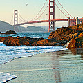 Classic - World Famous Golden Gate Bridge With A Scenic Beach And Birds. by Jamie Pham