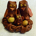Clay Owl Family by Richard Bryce and Family