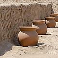 Clay Pots At Huaca Pucllana In Lima Peru by Ralf Broskvar