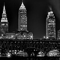 Cleveland Black And White Night by Frozen in Time Fine Art Photography