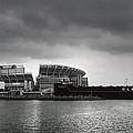 Cleveland Browns Stadium From The Inner Harbor by Kenneth Krolikowski