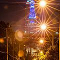 Cleveland Downtown Street View At Night by Alex Grichenko