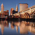 Cleveland From The River Golden Hour by At Lands End Photography