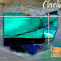 Cleveland Ohio Map Watercolor by Marvin Blaine