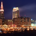 Cleveland Panoramic Night by Frozen in Time Fine Art Photography