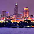 Cleveland Skyline At Night Evening Panorama by Jon Holiday