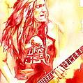 Cliff Burton Playing Bass Guitar Portrait.1 by Fabrizio Cassetta