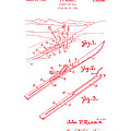 Climber For Skis 1939 Russell Patent Art Red On White by Lesa Fine