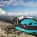 Climbing Helmet With Camera On Mountain by Christopher Kimmel