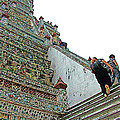 Climbing Many Steps At Temple Of The Dawn-wat Arun In Bangkok-th by Ruth Hager