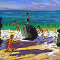 Climbing rocks Porthmeor beach St Ives by Andrew Macara
