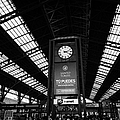 clock in Santiago central railway station Chile by Joe Fox