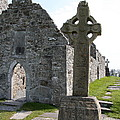 Clonmacnoise Cathedral  And High Cross Ireland by Christiane Schulze Art And Photography