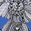 Close Up Owl Blue by Karen Larter
