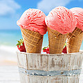 Close Up Strawberry Ice Creams by Amanda Elwell