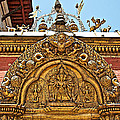 Closeup Of Carving Over Door In Bhaktapur Durbar Square In Bhaktapur-nepal by Ruth Hager