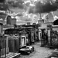 Cloudy Day At St. Louis Cemetery In Black And White by Chrystal Mimbs