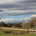 Cloudy Sky With A Log Fence by Robert D  Brozek
