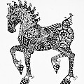 Clydesdale Foal - Zentangle by Jani Freimann