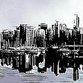 Vancouver  Canada Coal Harbour Triptych Left Panel by Patricia Keith