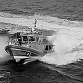Coast Gaurd In Action In Black And White by Rob Hans
