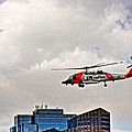 Coast Guard Chopper Over Boston by Mike Martin