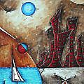 Coastal Abstract Cityscape Art Original City Painting Morning Retreat By Madart by Megan Duncanson