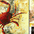 Coastal Crab Decorative Painting Original Art Coastal Luxe Crab By Madart by Megan Duncanson