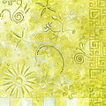 Coastal Decorative Citron Green Floral Greek Checkers Pattern Art Green Whimsy By Madart by Megan Duncanson