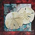 Coastal Decorative Shell Art Original Painting Sand Dollars Asian Influence I By Megan Duncanson by Megan Duncanson