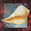 Coastal Decorative Shell Art Original Painting Sand Dollars Asian Influence II By Megan Duncanson by Megan Duncanson
