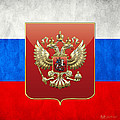 Coat Of Arms And Flag Of Russia by Serge Averbukh