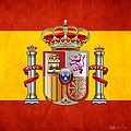 Coat Of Arms And Flag Of Spain by Serge Averbukh