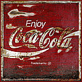 Coca Cola Red Grunge Sign by John Stephens