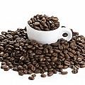 Coffee Beans And Coffee Cup Isolated On White by Lee Avison