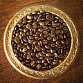 Coffee Beans On Antique Silver Platter by Renee Hong