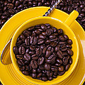 Coffee Cup Filled With Beans by Garry Gay