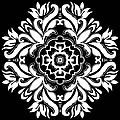 Coffee Flowers 10 Bw Ornate Medallion by Angelina Vick
