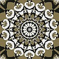 Coffee Flowers 10 Olive Ornate Medallion by Angelina Vick