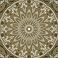 Coffee Flowers 11 Olive Ornate Medallion by Angelina Vick