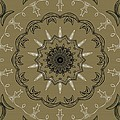 Coffee Flowers 3 Olive Ornate Medallion by Angelina Vick