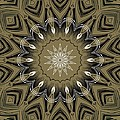 Coffee Flowers 4 Olive Ornate Medallion by Angelina Vick