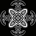 Coffee Flowers 5 Bw Ornate Medallion by Angelina Vick