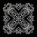Coffee Flowers 6 Bw Ornate Medallion by Angelina Vick