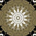 Coffee Flowers 9 Olive Ornate Medallion by Angelina Vick