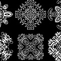 Coffee Flowers Ornate Medallions Bw 6 Peice Collage by Angelina Vick