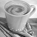 Coffee In Tall Yellow Cup Black And White by Iris Richardson