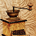 Coffee Mill And Beans In Grunge Style by Michal Boubin