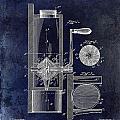 Coffee Mill Patent 1893 Blue by Jon Neidert